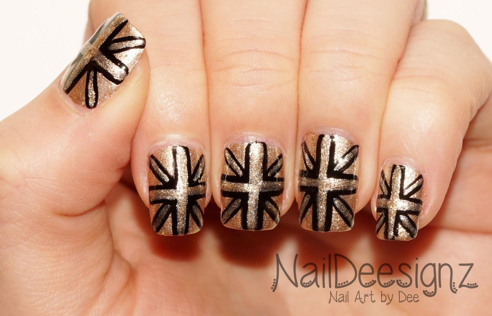 Naildeesignz Black Gold Union Jack Nail Art