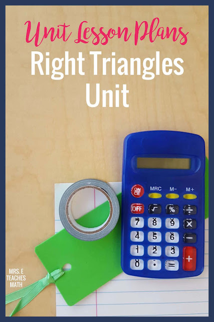 This is my entire unit plan for Right Triangles in high school geometry. There are notes, activities, quizzes, and tests listed. It is so helpful for teachers to see a sample unit plan!