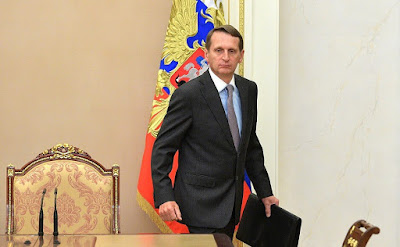 Before a meeting with permanent members of the Security Council. Head of the Foreign Intelligence Service Sergei Naryshkin.