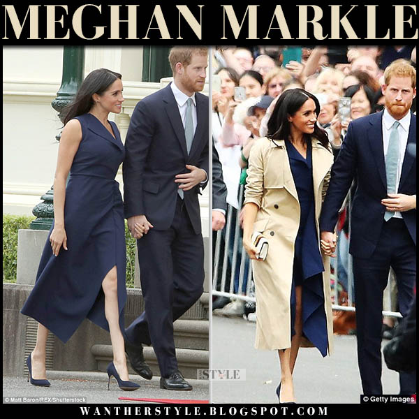 Meghan Markle in beige trench coat martin grant and navy midi dress dion lee royal australian tour october 18 outfits