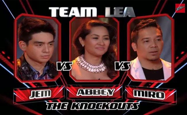 The Voice of the Philippines Season 2 Knock Out Rounds Team Lea; Abbey Pineda, Miro Valera and Jem Cubil