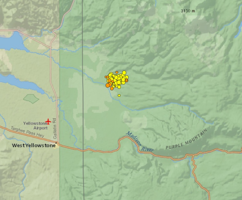 The Big Wobble: Yellowstone supervolcano shaken by a swarm of over Yellowstone Volcano Map Usgs on high resolution yellowstone map, nps yellowstone map, yellowstone national park wy to farmington new mexico map, yellowstone national park topo map, yellowstone np map,
