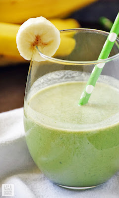 Green Smoothie with Peanut Butter and Banana | by Life Tastes Good