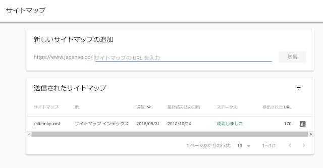 Google Search ConsoleでBloggerブログのサイトマップ送信