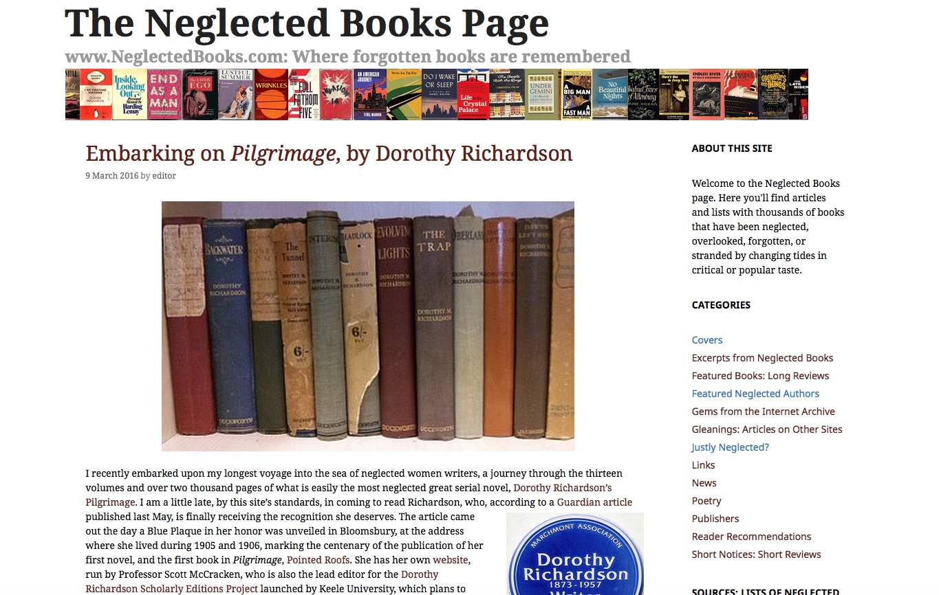 Blog Suggestion Neglected Books Page
