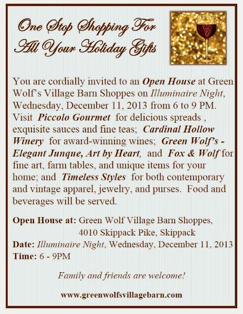 Green Wolfs Village Barn Shoppes in Skippack: SKIPPACK EVENTS CALENDER: Holiday Open House Dec