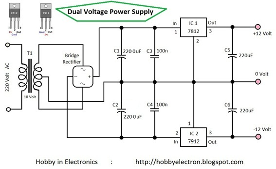 Hobby in Electronics: Dual Voltage Power Supply 12 Volt