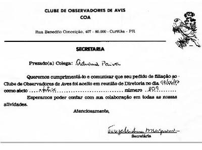 COA  - Clube de Observadores de Aves - Curitiba Paraná - Certificado de filiação de Adriana Paiva