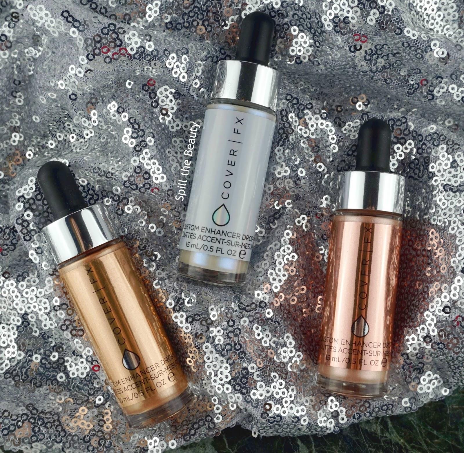 Cover FX Custom Enhancer Drops blossom halo rose gold highlighter review swatches