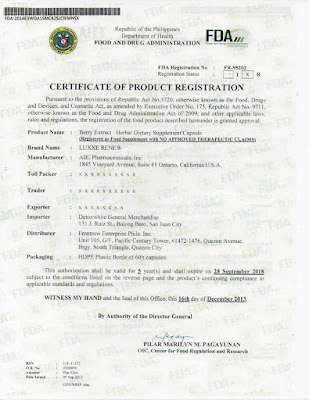 Luxxe Renew FDA Certificate of Product Registration