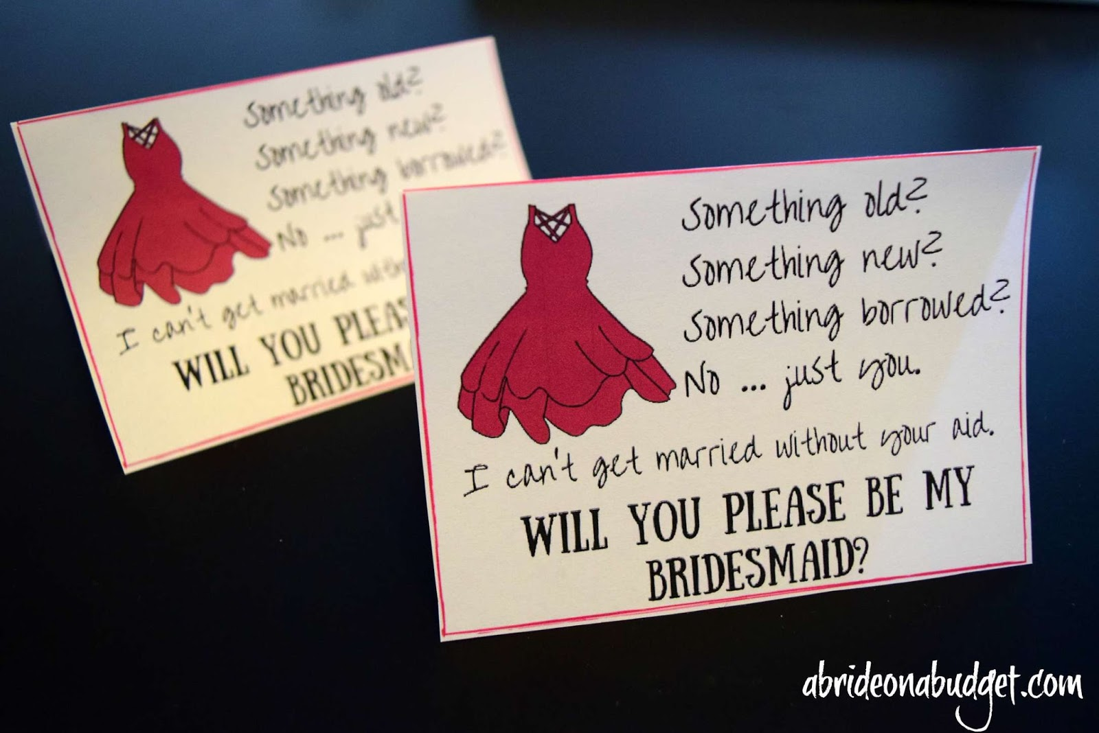 diy bridesmaids cards plus a free printable for flat and folded