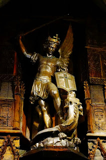 St Michael statue, Mont Saint Michel, Normandy, France