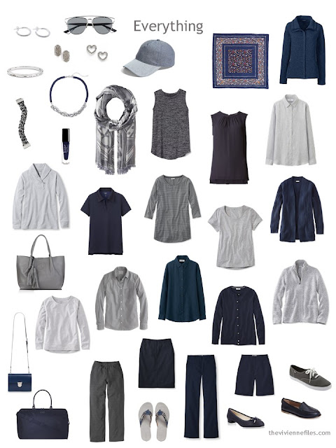 a changeable weather travel capsule wardrobe in navy and grey