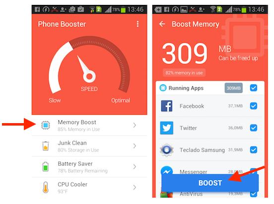 Limpando a memória de um smartphone Android com o aplicativo Super Booster Clean Boost