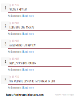 5 Design Recent Post Widgets Code For Blogger
