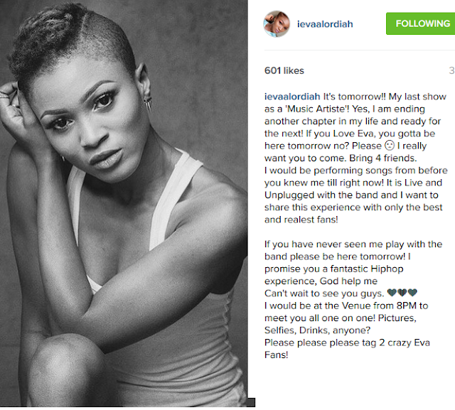 Eva Alordiah Quits Music, Her Last Show Holds Tomorrow