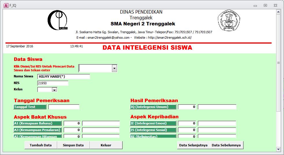 Data IQ Siswa - Aplikasi Bimbingan Konseling Gratis