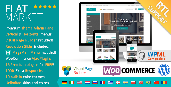 Free Download FlatMarket V1.8.6 Multi-Purpose WooCommerce theme + RTL