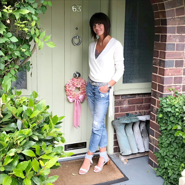 My midlife fashion, marks and spencer, marks and spencer pure cashmere ballet wrap cardigan, john lewis lace trim camisole, zara distressed cigarette length jeans, the white company studded belt, marks and spencer block heel studded sandals