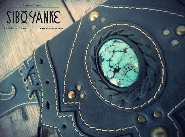 Leather Utility Belt, Festival Belt, Festival Utility Belt with Turquoise, Gemstones+Labradorite+Moonstone+Sibo Yanke+Waist Bag