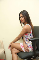 Nishi Ganda stunning cute in Flower Print short dress at Tick Tack Movie Press Meet March 2017 116.JPG