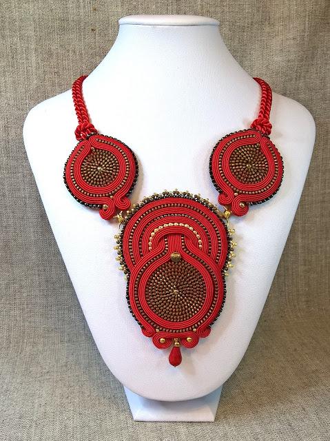 red soutache necklace zipper