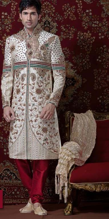 Light Cream & Maroon Brocade Cotton Silk Sherwani With Churidar