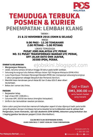 Temuduga terbuka di pos malaysia berhad november 2016