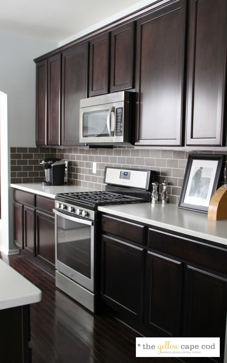 The Yellow Cape Cod: Dark Tile, Light Grout Kitchen Backsplash on Kitchen Backsplash With Black Countertop  id=48260