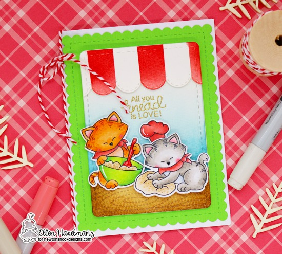 Cats Baking card by Ellen Haxelmans | Newton's Kitchen Stamp Set by Newton's Nook Designs #newtonsnook #handmade #kitchenstamps