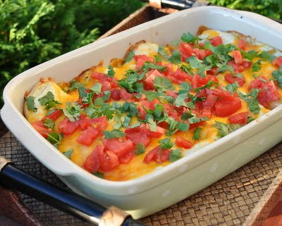 Easy Green Chile Chicken Enchiladas