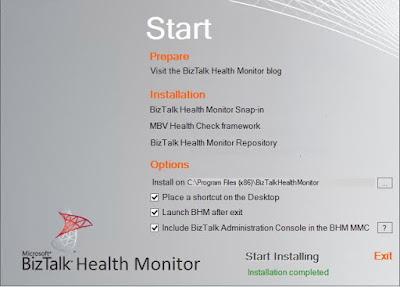 BHM installation start page installation complete