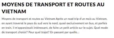 Moyens de transport et routes au Vietnam