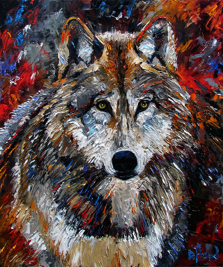 Debra hurd original paintings and jazz art wolf art for Animal oil paintings