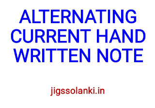 ALTERNATING CURRENT HAND WRITTEN NOTE
