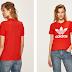 adidas Originals - Tricou de femei rosu ieftin cu logo mare