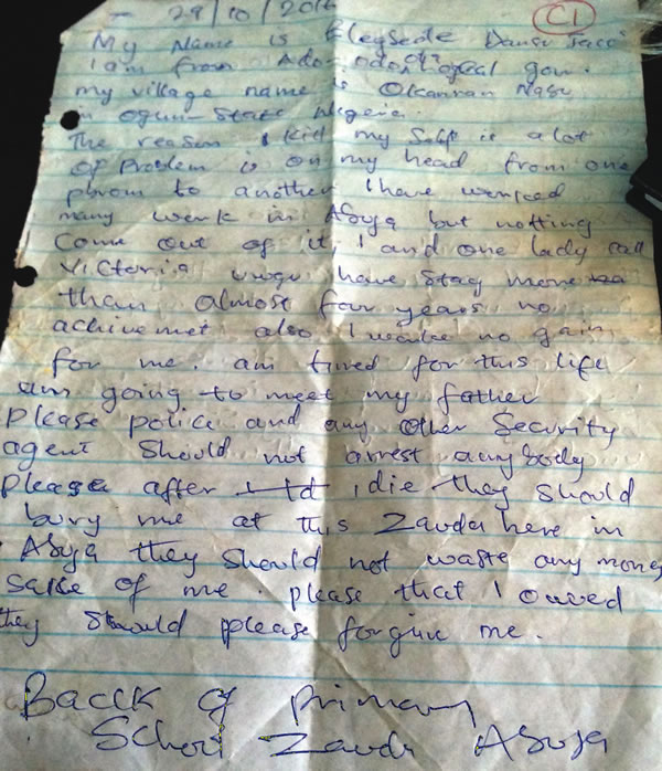 mfm church member suicide note