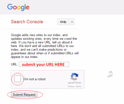 Visit Google's Web Page URL Submitting Page and Follow my steps to submit your site to google