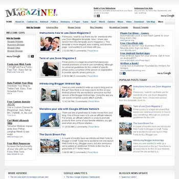 Zoom Magazine 2 blogger template with featured content template and 4 column fotter template. blog magazine template blogspot