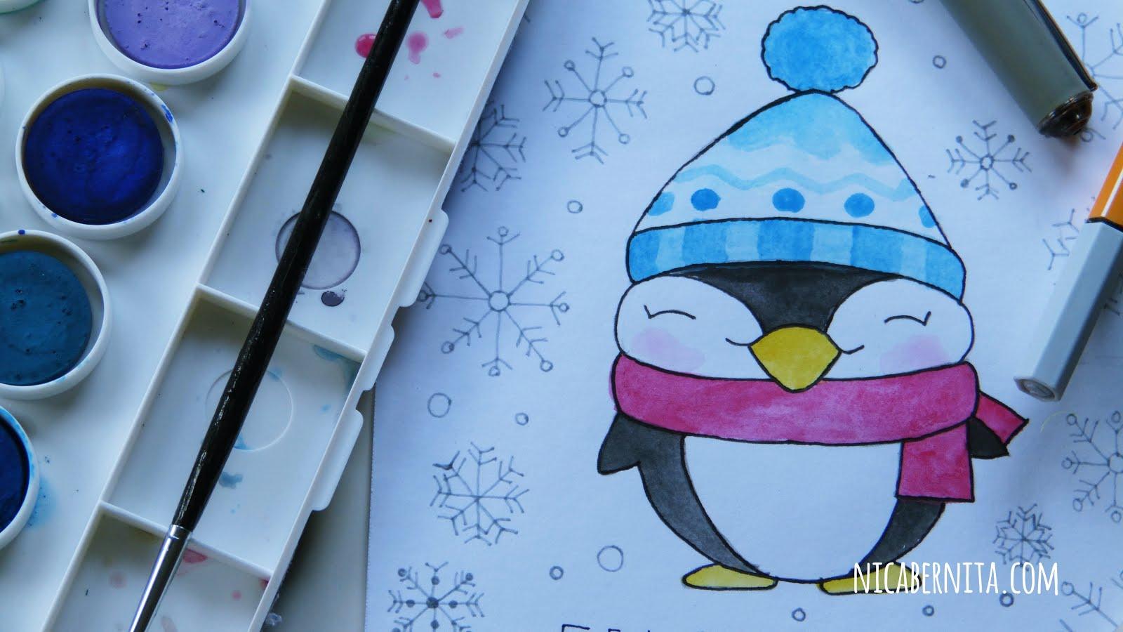 Tarjeta De Navidad Con Dibujo De Invierno Pinguino Kawaii Con