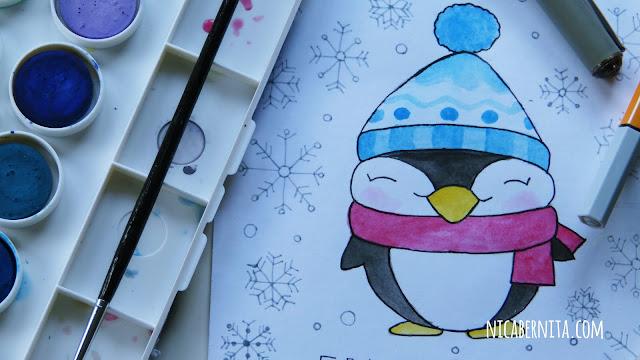 Dibujo de pingüino kawaii. Dibujos de invierno y navidad (Nica Bernita)