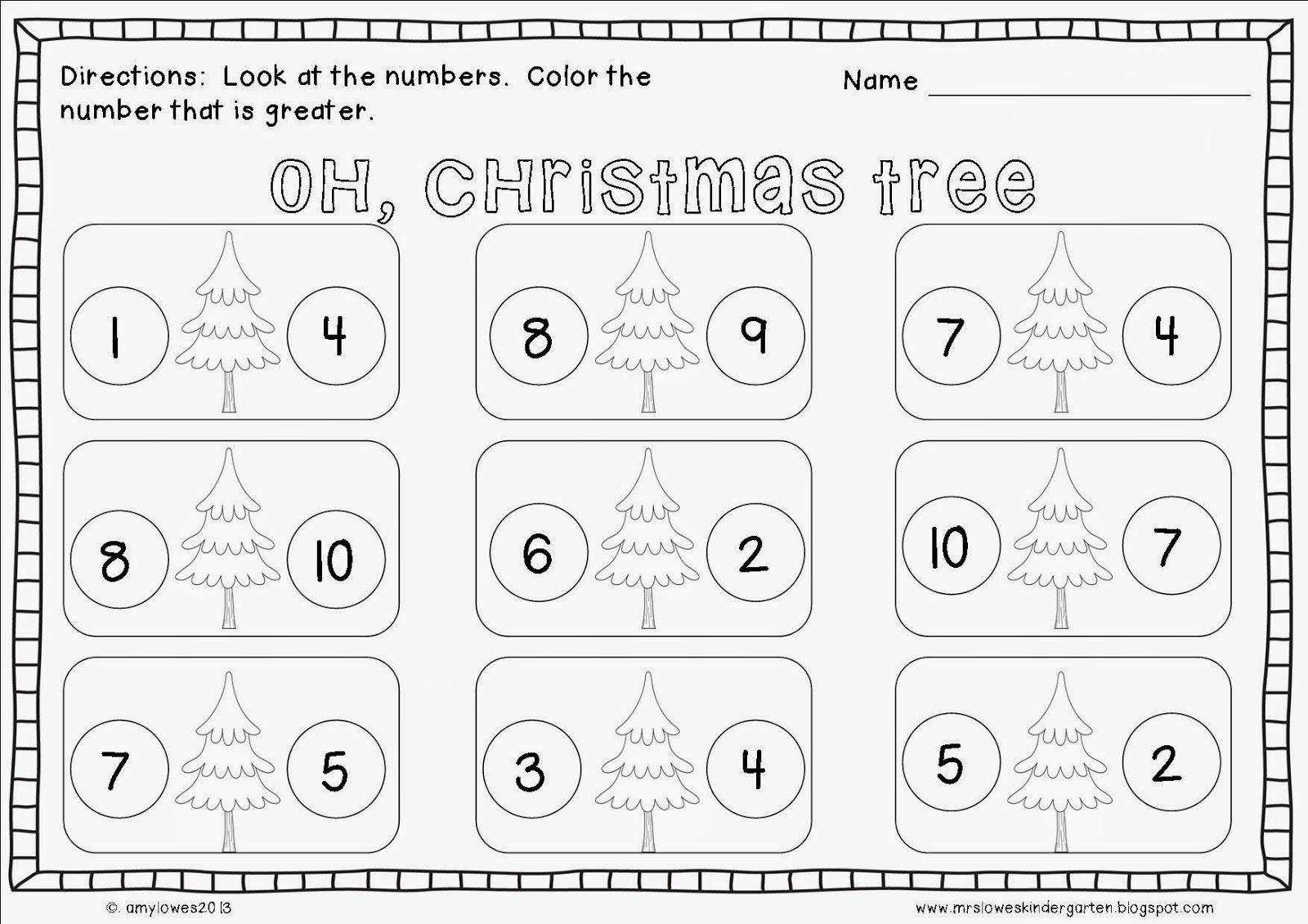 Free Kindergarten Christmas Math Worksheets