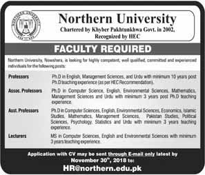 Jobs in Northern University KPK Nov 2018