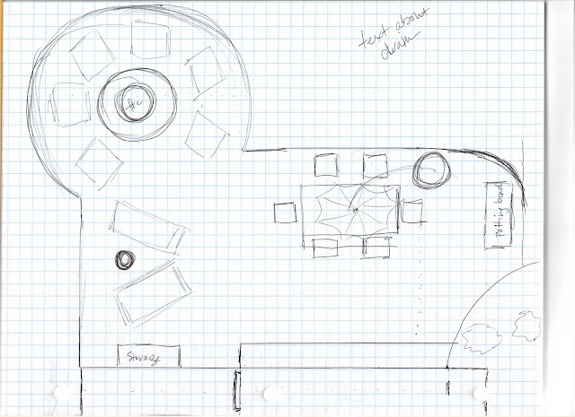 patio plans with round firepit area