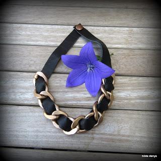 LoveLea's black leather chunky chain necklace/choker