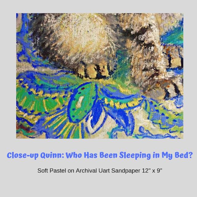 Close up of sheets & fur of Quinn portrait by Minaz Jantz
