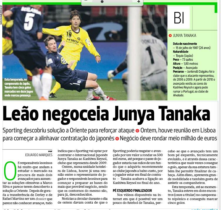 A contratação de Tanaka e a entrevista de Paulo Oliveira ~ A Norte ... 630df37d499e3