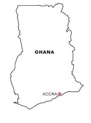 Mapa Y Bandera De Ghana Para Dibujar Pintar Colorear Imprimir