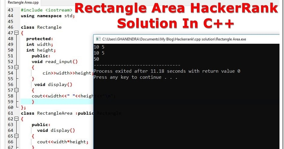 Rectangle Area HackerRank Solution In C++