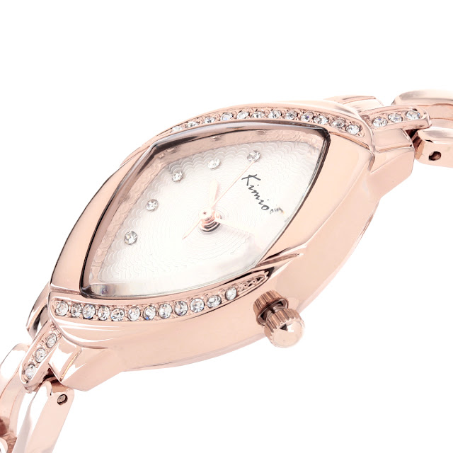 KIMIO Women's Elegant Heart-shape Rhinestone Fashion Bracelet Quartz Wrist Watch